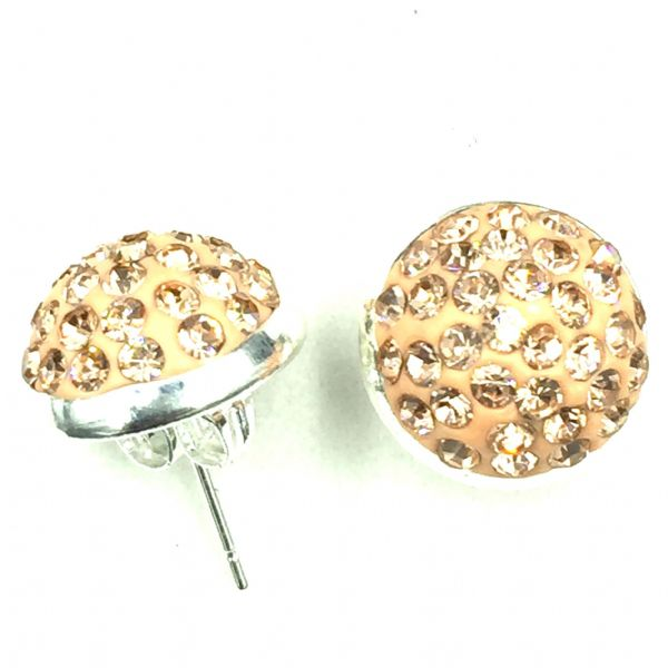 10mm Pave crystal stud earrings - peach / champagne crystals - silver